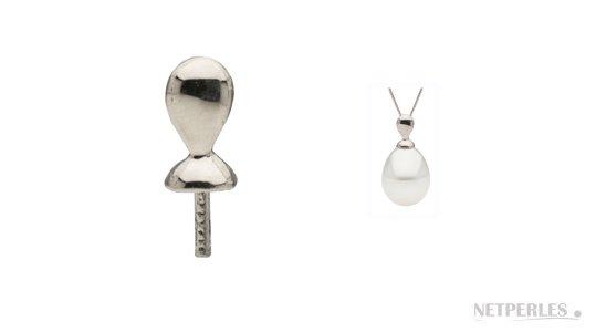 Bélière en argent pour pendentif de perle de culture