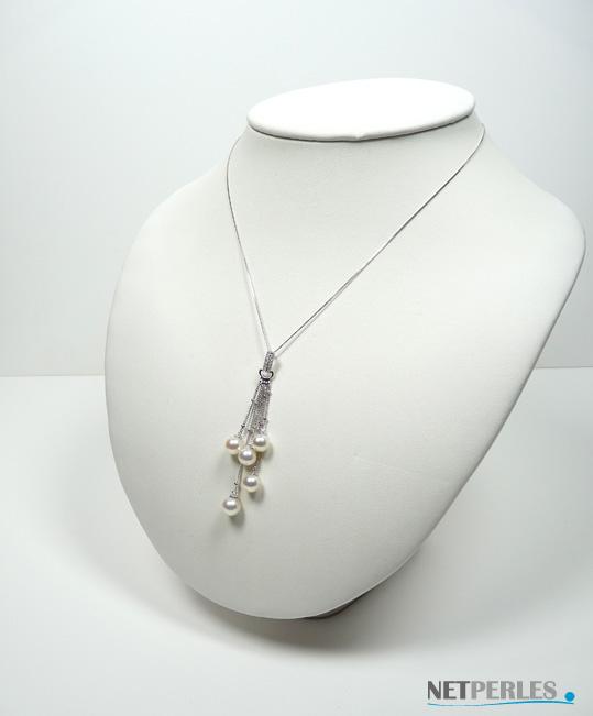 Pendentif Or gris 18k avec perles d'Akoya AAA et diamants