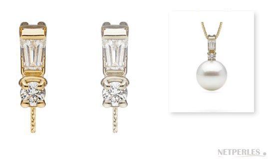 Pendentif Adore avec diamants et perle de culture blanche