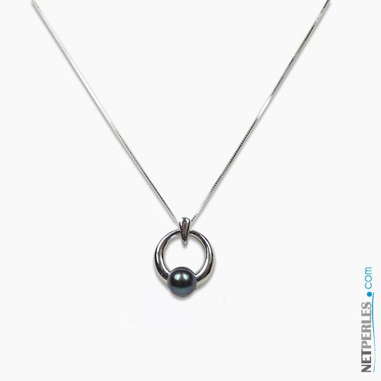 Pendentif en Or gris avec perle noire d'Akoya de 6,5 à 7 mm qualite AAA