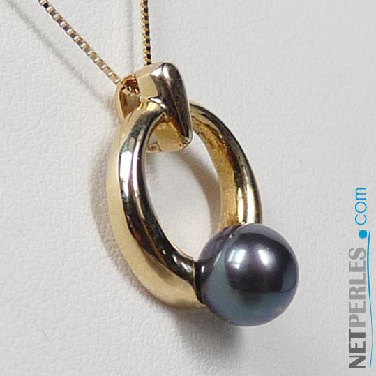 Pendentif en Or 14 carats avec perle noire Akoya de 6,5 à 7,0 mm, qualite AAA