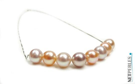 Perles d'eau douce sur chaine en or gris