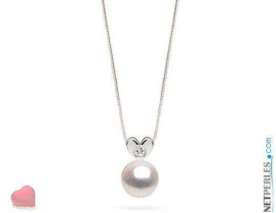 Pendentif en Or gris 14 carats avec diamant VS1 et perle blanche d'eau douce DOUCEHADAMA