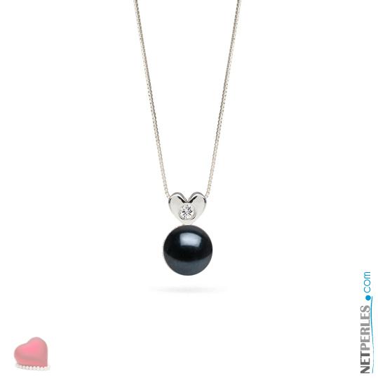 Pendentif en Or gris 14 carats avec diamant et perle noire d'Akoya qualité AAA