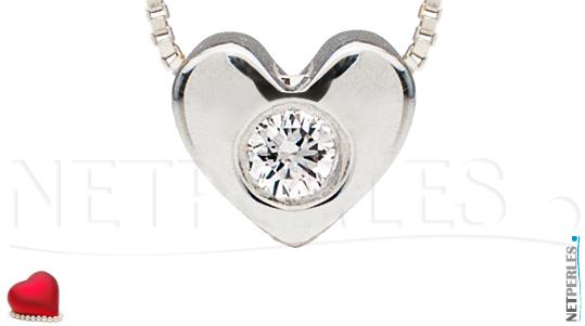 Pendentif Or Gris 14 carats  et diamant VS1