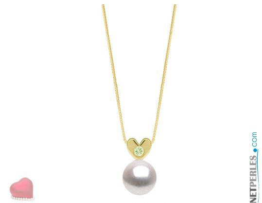 Pendentif en Or jaune 14 carats avec diamant VS1 et perle blanche d'eau douce DOUCEHADAMA