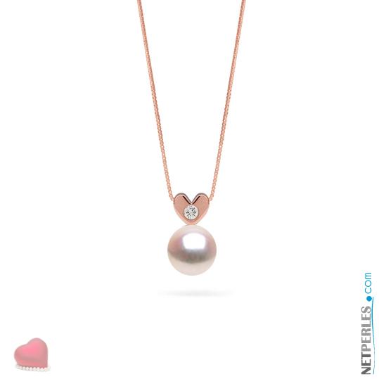 Pendentif en Or rose 14 carats avec diamant et perle blanche d'eau douce AAA