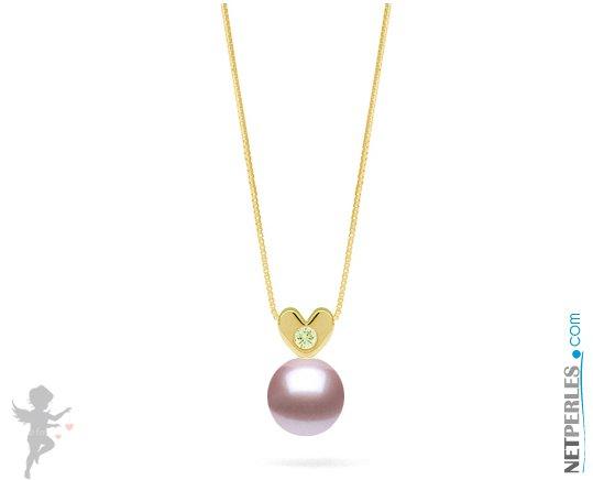 Pendentif Or jaune et diamant avec  perle d'eau douce lavande