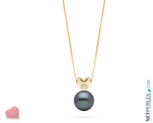 Pendentif Or jaune 14 carats et diamant VS1 avec perle noire d'eau douce qualité AAA