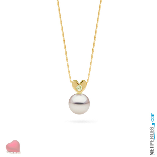 Pendentif coeur en Or Jaune 14 carats et diamant, avec sa perle blanche Akoya qualité AAA