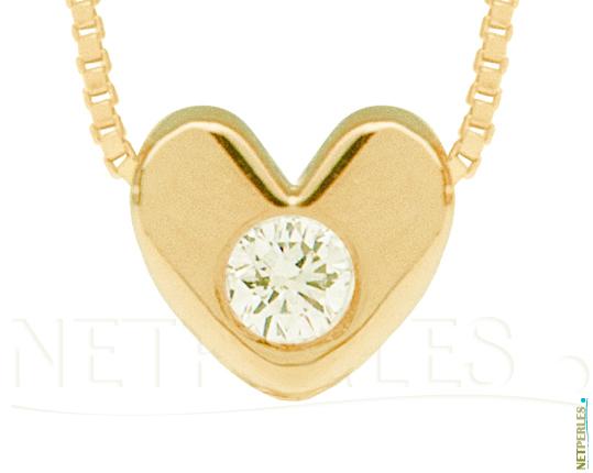 Pendentif Or Jaune 14 carats  et diamant VS1