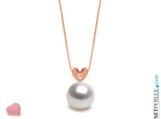 Pendentif Or rose et diamant en forme de coeur avec perle blanche argentée d'australie qualité AAA