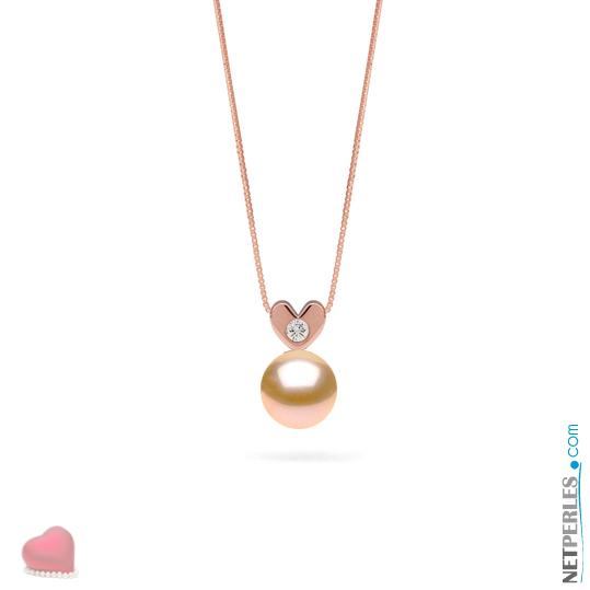 Pendentif coeur en or rose 14 carats et son diamant VS1 avec perle peche d'eau douce qualité AAA