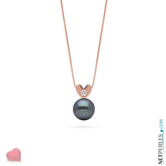 Pendentif Or Rose 14 carats et diamant VS1 avec perle noire d'eau douce qualité AAA