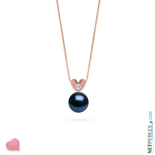 Pendentif en Or rose  14 carats avec diamant et perle noire d'Akoya qualité AAA