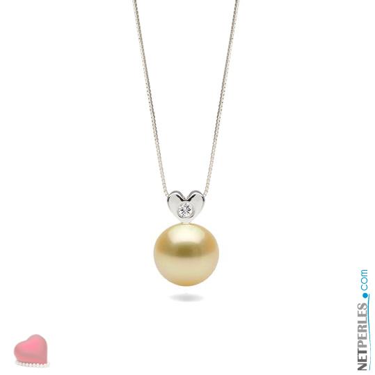 Pendentif Argent massif avec un diamant VS1 et une perle doree d'australie qualité AAA