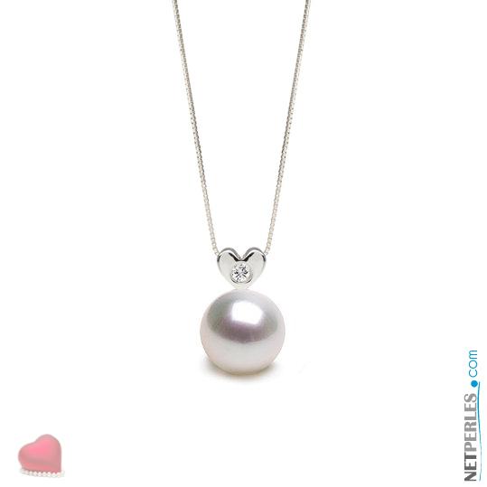 Pendentif coeur en Argent massif et diamant VS1 avec perle blanche argentée d'australie