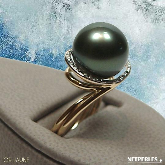 Bague en Or jaune 18 carats et diamants et perle de culture de tahiti qualité AAA