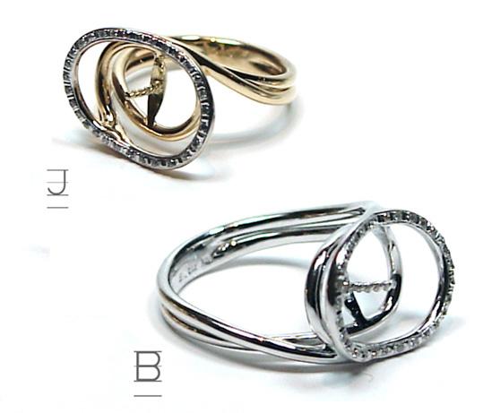 Bague or jaune ou gris 18 carats avec diamants pour perles de culture