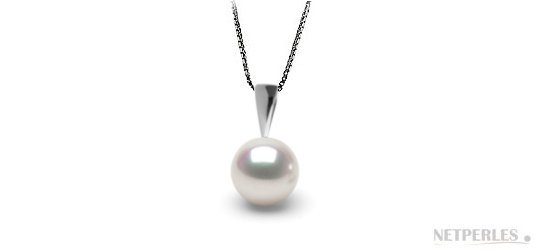 Pendentif en Argent avec perle d'Akoya Hanadama