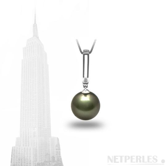 Pendentif Art Déco avec perle de tahiiti qualité AAA
