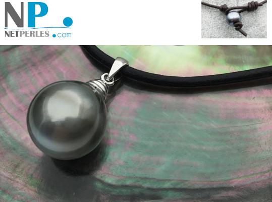 Lien de cuir avec pendentif en Argent, perle de Tahiti baroque 12-14 mm