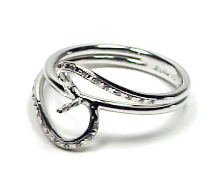Joaillerie bague or gris 18&lt;br /&gt;<br /> carats et diamants pour perle de culture