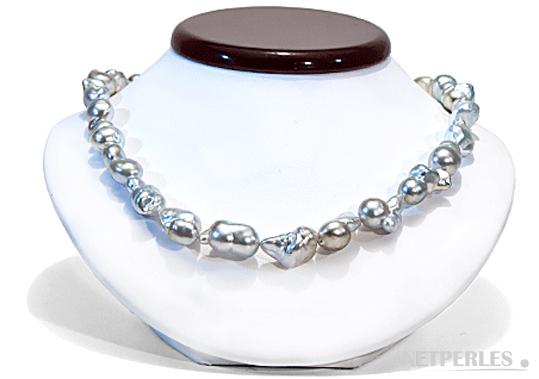 Collier de perles de culture d'australie baroques, blanches argentées