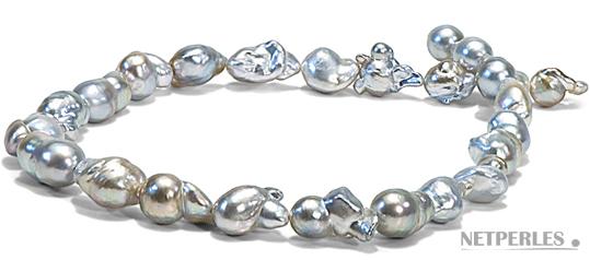 Collier de perles de culture baroques d'Australie blanches argentées