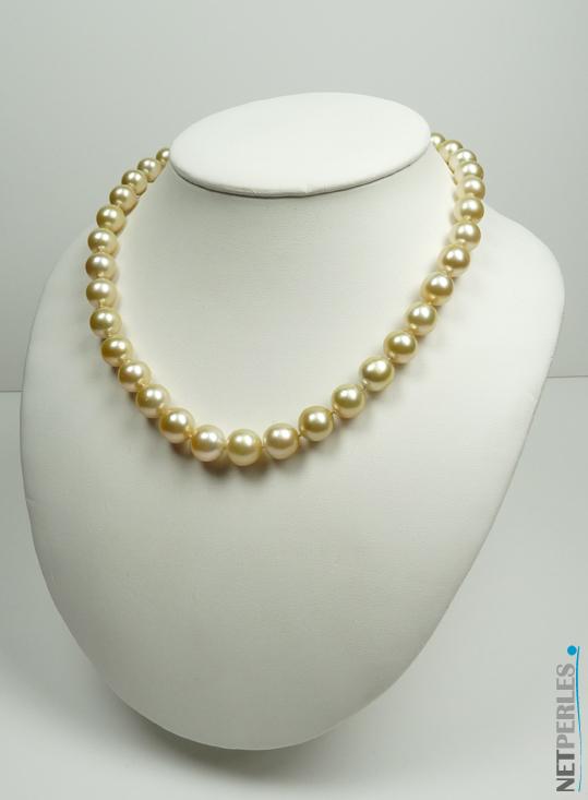 Collier de perles dorées, perles de luxe, collier de grand luxe a petit prix chez NETPERLES