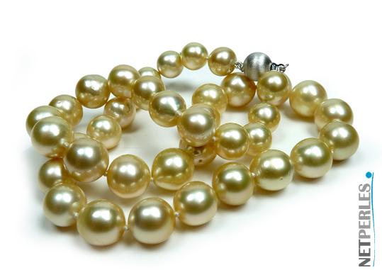Collier de perles dorées d'australie, mers du sud, prix exceptionnel, qualité grand luxe