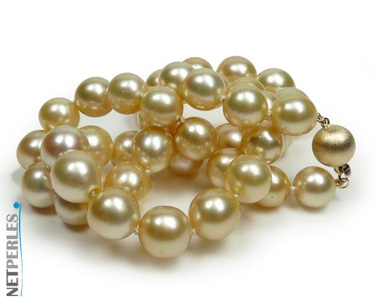 Collier de perles dorées d'australie, prix imbattable, beauté exceptionnelle, grand luxe