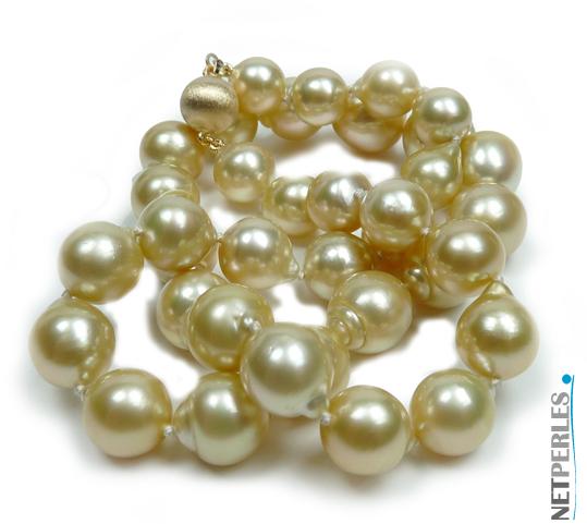 Perle dorée, perles d'australie, collier de perles de culture, bijoux de luxe, perles et bijoux à prix pas cher