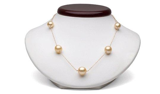 Collier perles de culture d'Australie dorées