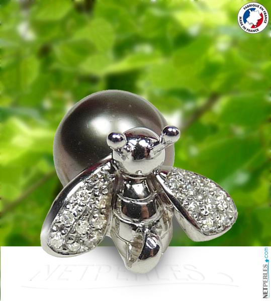 Abeille en pendentif - bijou Or et Diamant plus perle noire de tahiti
