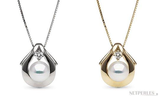 Pendentif en Or Jaune ou Or Gris avec une perle d'Akoya du Japon Blanche AAA