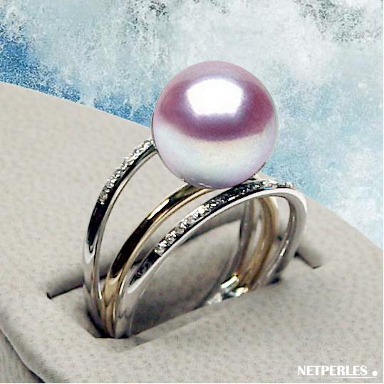 bague or 3 anneaux, 18 carats et perle d'EAU DOUCE qualite AAA