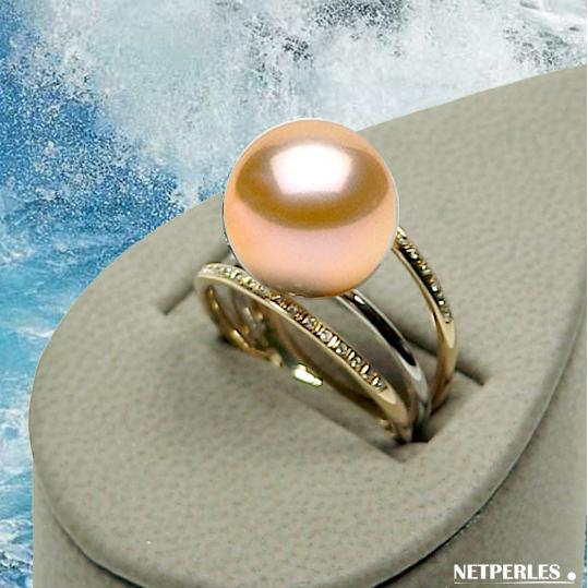 bague or 18 carats 3 anneaux avec perle d'eau douce