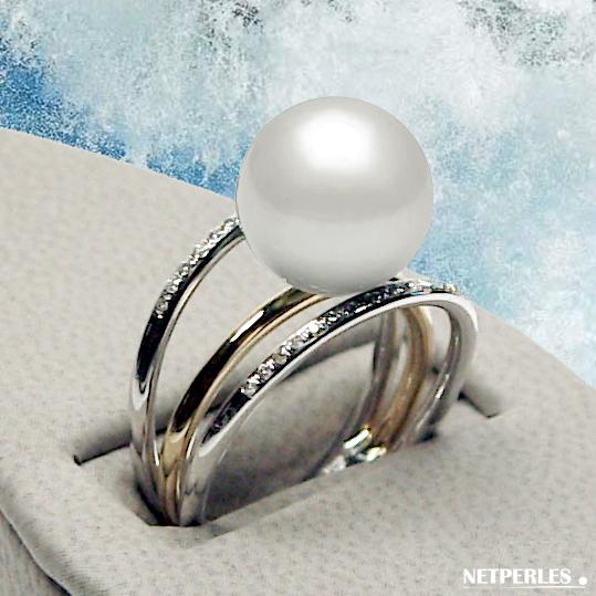 bague 3 anneaux Or 18 carats et diamants avec Perle blanche d'Eau Douce