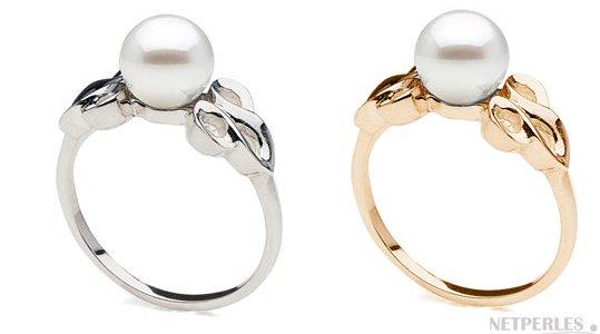 Bague en Or Jaune ou Or Gris avec perle de culture d'Akoya 7-7.5 mm AAA