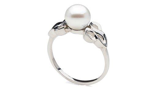 Bague en Argent rhodié avec une perle d'Akoya parfaitement ronde qualité AAA