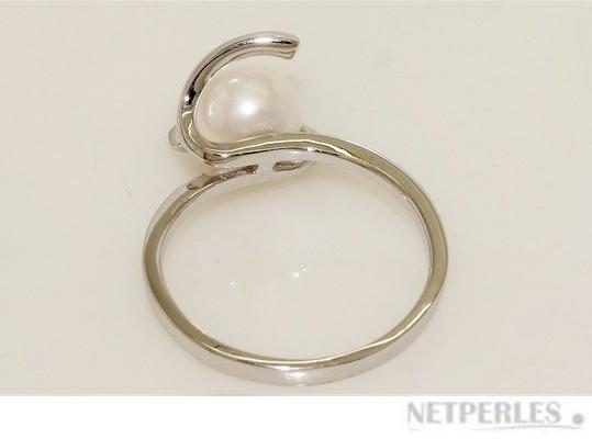 Bague en argent rhodié et perle d'eau douce blanche