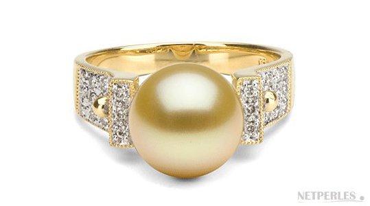 Bague en Or 18k et Diamants avec perle dorée d'Australie 9-10 mm AAA