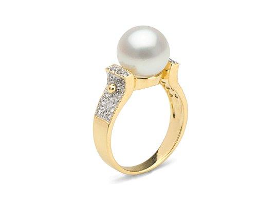 Bague Or et Diamants avec perle de culture d'Eau Douce DOUCEHADAMA