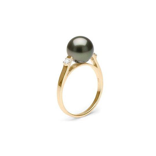 bague perle de tahiti bague or jaune ou gris 14 carats et diamants et perle noire perle de. Black Bedroom Furniture Sets. Home Design Ideas