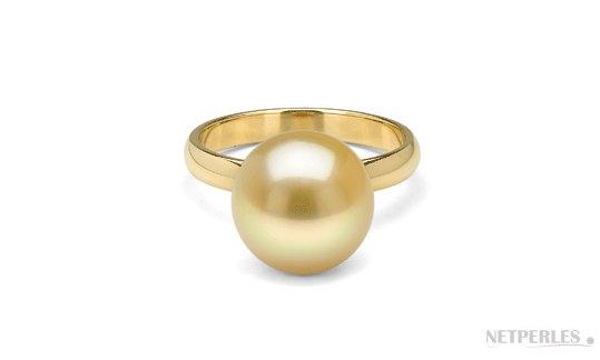 Bague ROSALIE avec perle d'australie dorée