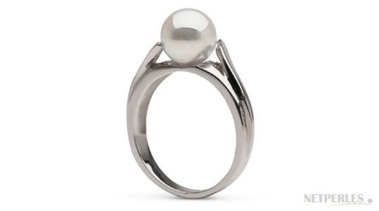 Bague en Argent rhodié avec une perle d'Eau Douce blanche qualité DOUCEHADAMA