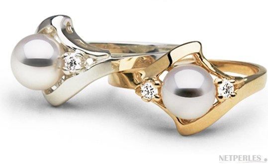 Bague Stella en Or Gris et Or Jaune avec diamants et perle d'Akoya
