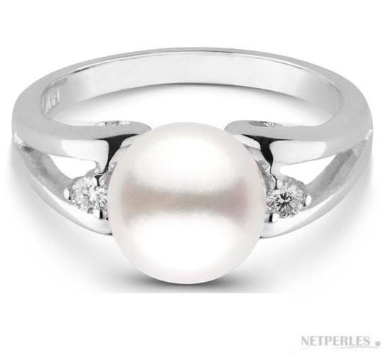 Bague en argent rhodié avec diamants et perle d'eau douce DOUCEHADAMA blanche