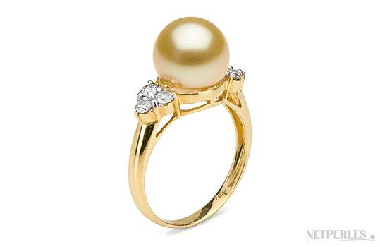 Bague Toujours avec perle dorée d'Australie